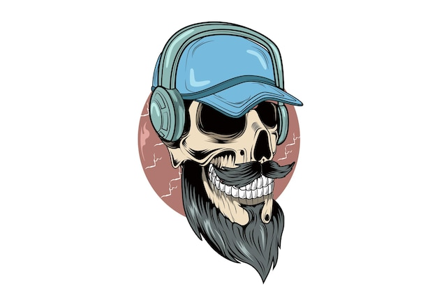 Skull wearing hat and headphone illustration hand drawing vector