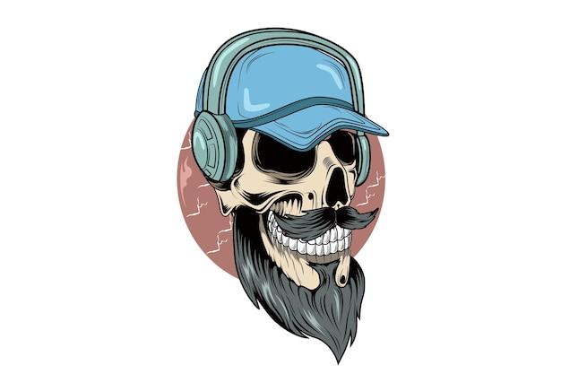 Skull wearing hat and headphone