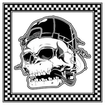 Skull wearing hat and smoking pipe