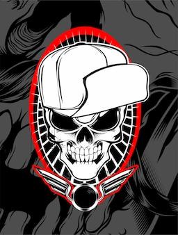 Skull wearing hat vector.