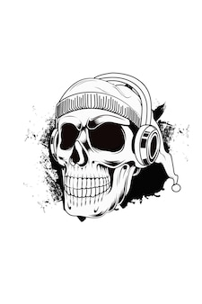 Skull wearing headphone hand drawing vector