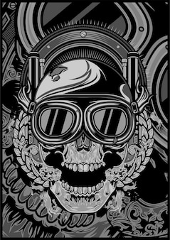 Skull wearing a helmet and a google cross.vector hand drawing.