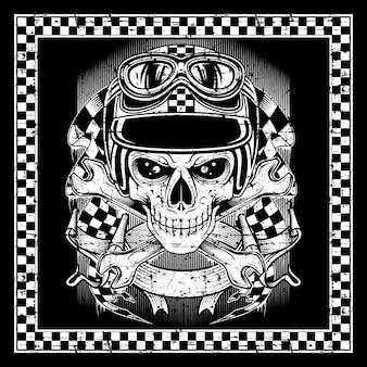 Skull wearing helmet retro frame