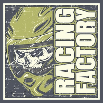 Skull wearing helmet and text racing factory hand drawing