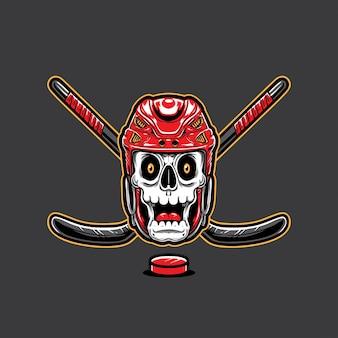 Skull wearing hockey helmet and hockey sticks