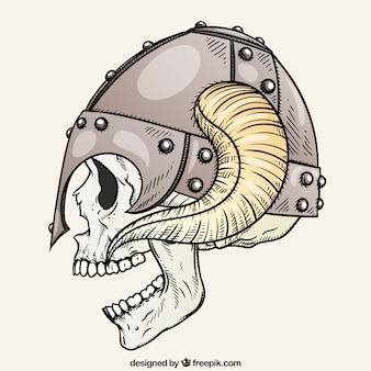 Skull wearing a horned helmet