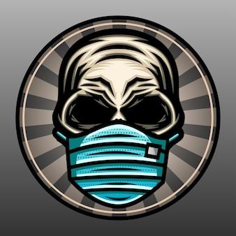 Skull wearing a mask illustration.