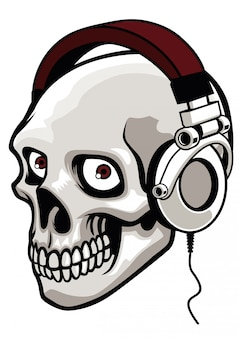 Skull wearing music headphone