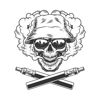 Skull wearing panama hat and sunglasses