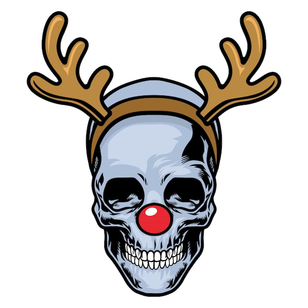 Skull wearing red nose and reindeer headband