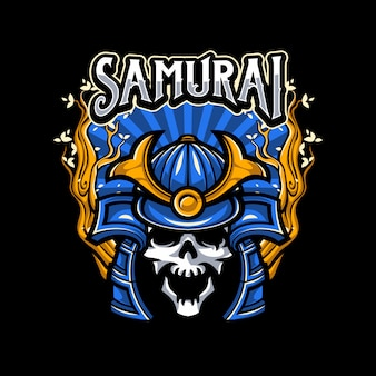 Skull wearing samurai helmet illustration
