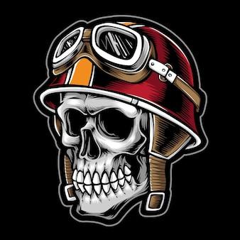 ヴィンテージヘルメットをかぶった頭蓋骨