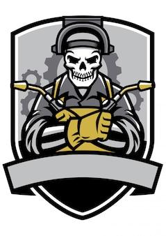 Skull welder badge