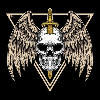 Skull wing badge illustration