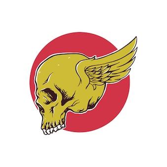 Крылья черепа, изолированные на белом фоне