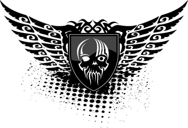 Skull wings shield black icon vector