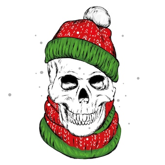 Skull in a winter hat and scarf
