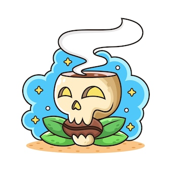 一杯のコーヒー漫画と頭蓋骨。