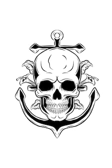 Skull with anchor and plant vector illustration