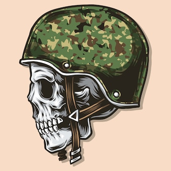 Skull with army helmet vector