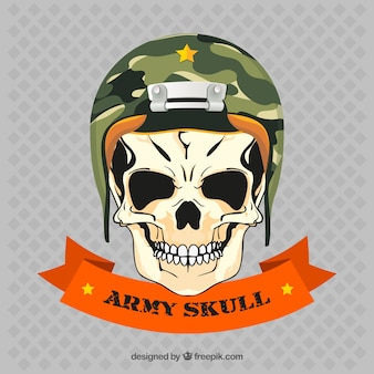 Skull with army helmet