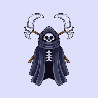 斧イラストと頭蓋骨