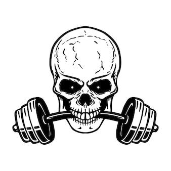 歯にバーベルが付いた頭蓋骨。ジムのロゴ、ラベル、エンブレム、サイン、ポスター、tシャツの要素。画像