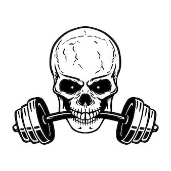 Skull with barbell in teeth.  element for gym logo, label, emblem, sign, poster, t shirt.  image