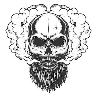 수염과 수염을 가진 두개골
