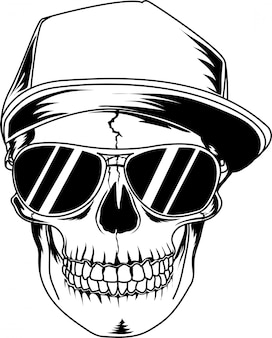 Skull with black glasses and cool hat
