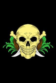 Skull with bone blade and leaf ornament vector illustration