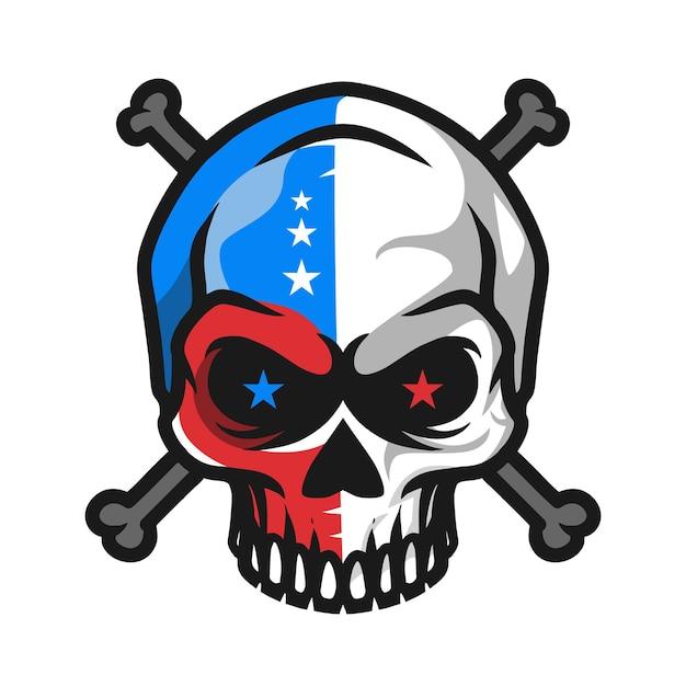Skull with bones illustration