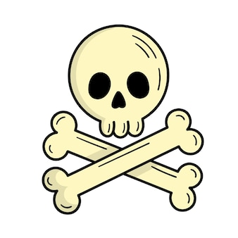 Skull with bones, pirate sign. mystic. halloween. doodle style illustration
