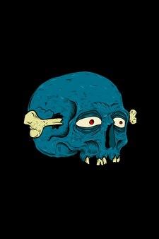 뼈 벡터 일러스트와 함께 두개골