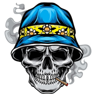 Skull with bucket hat vector