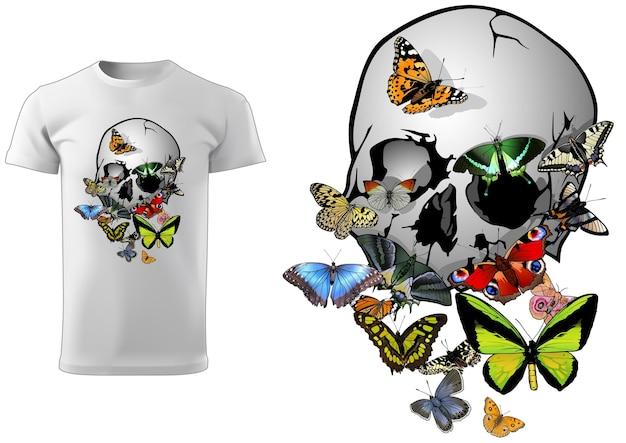 나비 t셔츠 디자인이 있는 해골
