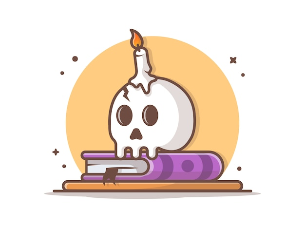 Skull with candle on book vector icon illustration