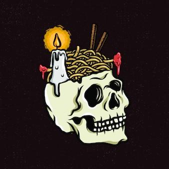 Череп с стилем иллюстрации ужина при свечах для товаров