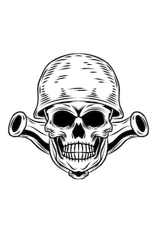 Skull with cannon vector illustration