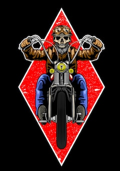 Skull with classic helmet and beard riding motorcycle