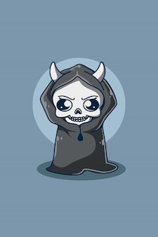 Skull with cloak cartoon illustration