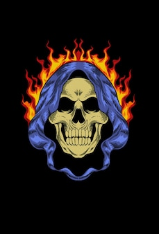 Skull with cloak and fire vector illustration