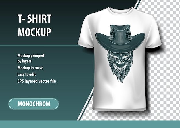 Skull with cowboy hat. t-shirt template, fully editable.