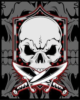 Skull with cross sword vector hand drawing.