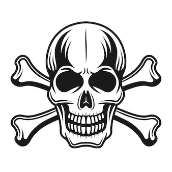 Skull with crossbones front view detailed illustration
