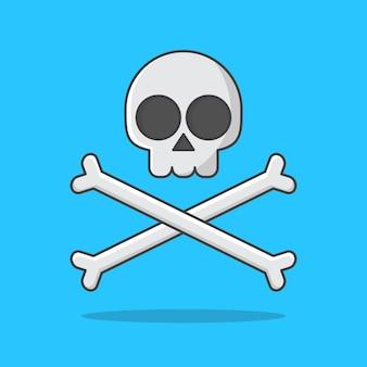 Череп со скрещенными костями значок иллюстрации пиратский герб
