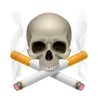 Skull with crossed cigarettes as symbol of smoking danger.