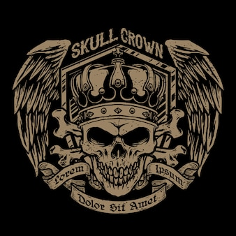 Skull with a crown and badges wings   illustration