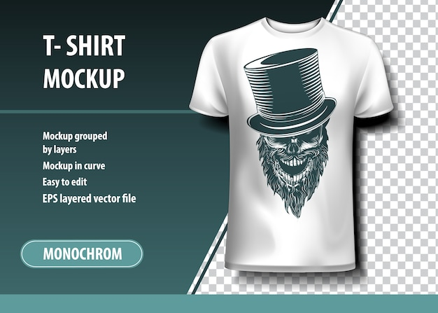 Skull with cylinder. t-shirt template, fully editable.