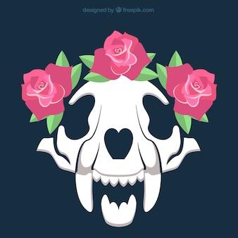 装飾的なバラとスカル
